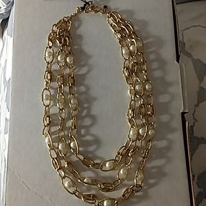 NWT Ann Taylor 3 strand gold and pearl necklace